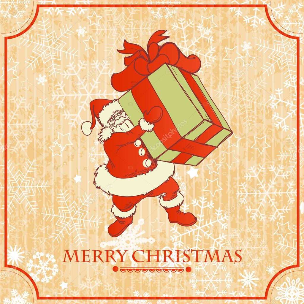 Vintage Christmas card, Santa with gift — Stock Vector #13913554