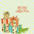 Retro Christmas present vector illustration -  
