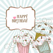 Happy birthday card with cupcakes - Vektorgrafik