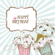 Happy birthday card with cupcakes - Imagen vectorial
