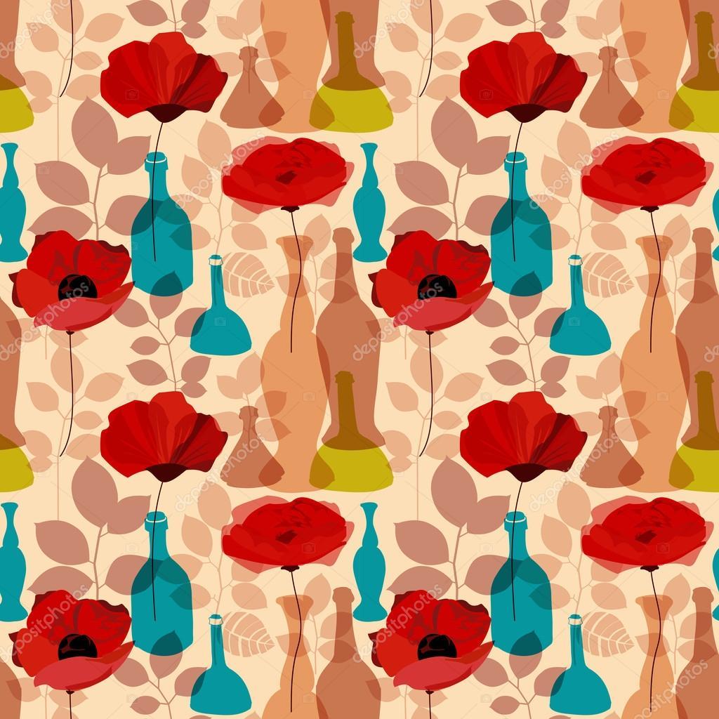 鲜花, 花瓶和瓶无缝花纹矢量