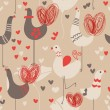 Cute love birds seamless pattern — Stock Vector