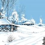 Winter snowy landscape vector illustration — Stock Vector