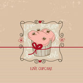 Love cupcake, Valentine day cute card — Stock Vector