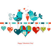 Cute birds sharing love , Valentines day design — Cтоковый вектор