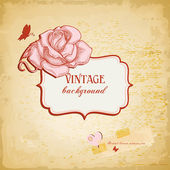 Vintage background, frame for text with rose vector illustration — Stock Vector