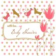 Baby girl shower with pink flowers and birds — Stock Vector