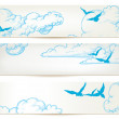 Sky banners, clouds and blue birds vector backgrounds — Stock Vector