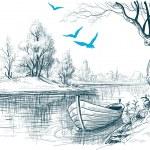 Boat on river delta vector sketch — Stock Vector