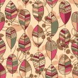 Autumn leaves seamless pattern retro style vector — Imagen vectorial