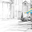 Retro city sketch, urban architecture, street and cars  — Imagens vectoriais em stock
