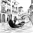 Gondola in Venice vector sketch — 图库矢量图片