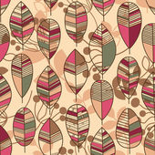 Autumn leaves seamless pattern retro style vector — Stock Vector