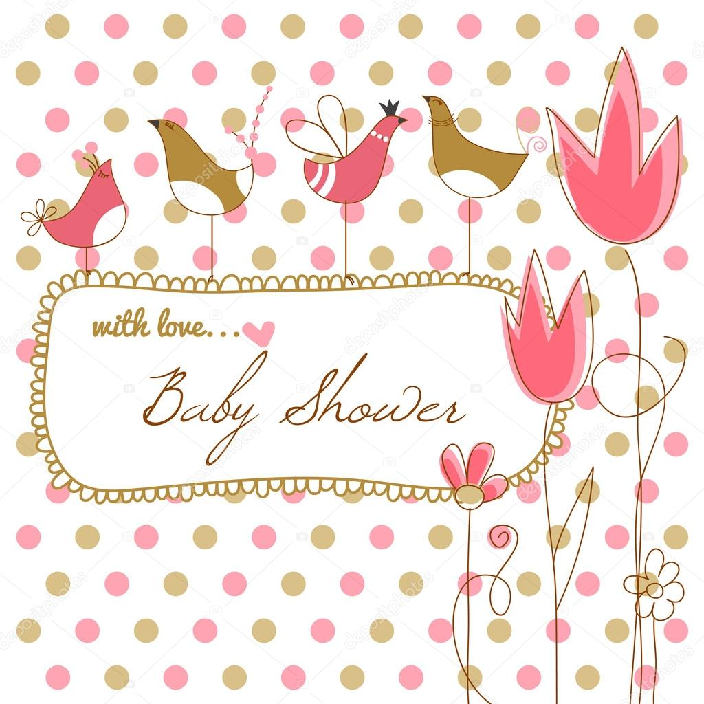Baby girl shower with pink flowers and birds — Stock Illustration