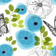 Stock Vector: Blue flowers and butterfly over white, nature seamless pattern