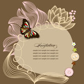 Scrapbook design, invitation template with flowers and butterfly — Vettoriale Stock