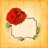 Rose frame over vintage wood texture background — Vecteur