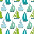 Boats on water seamless pattern marine vector — Stock Vector