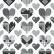 Hearts seamless pattern, black and white with grey shades — Stock Vector