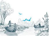 Fisherman in boat sketch, delta, river or sea background in vect — Stock Vector
