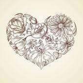 Herzen von blumen-grafik-symbol — Stockvektor