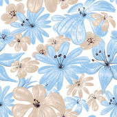 Mavi çiçekler dikişsiz desen baskı — Stok Vektör