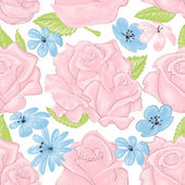 Pink roses seamless pattern over white  — Stock Vector