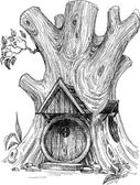 Small house in tree hollow sketch  — 图库矢量图片