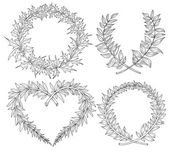 Collection with heart, wreaths, laurel, space for text. Hand dra — Stock Vector