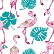 Exotic seamless pattern with pink flamingo — Stock Vector #49596523