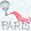 Paris, city of love concept, hot air balloon, pink hearts — Stock Vector #49597307