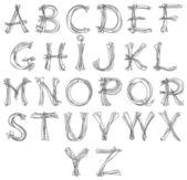 Sketch alphabet pencil drawing retro look for design — Stock Vector