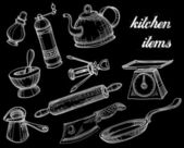 Kitchen tools collection, white over black doodles  — Vecteur