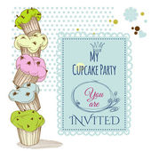 Party invitation stack of cupcakes design — Stock Vector