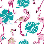 Exotic seamless pattern with pink flamingo  — Stock Vector