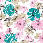 Flamingo and flowers exotic garden seamless pattern  — Stock Vector