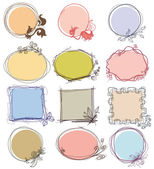 Cute decorative frames set, place for text  — Stock Vector