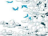 Sky background, clouds and blue birds flying, doodle vector  — Stock Vector