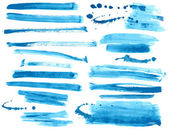 Watercolor blue ink brush strokes collection — Stock Vector
