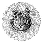 Tiger face black and white abstract decoration  — Vettoriale Stock