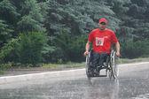 "Ukraine, Crimea, Saki, 15-JUN-2013: International Marathon ""Scythian coast"", with limited mobility, spinal cord injury and paraplegia are participating in the marathon 42 km — Stock Photo"