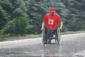 "Ukraine, Crimea, Saki, 15-JUN-2013: International Marathon ""Scythian coast"", with limited mobility, spinal cord injury and paraplegia are participating in the marathon 42 km — Stock Photo"