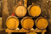 An old wine cellar with oak barrels — Stock Photo