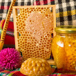 Jar of honey and honeycomb. Honey products - Stock Photo