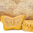Wax and honeycomb isolated - Stock Photo