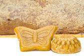 Wax and honeycomb isolated — Stock Photo