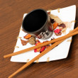 Chinese decoration cup and chopsticks — Stock Photo