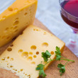 Emental cheese and wine — Stock Photo
