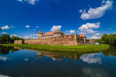 Medieval castle and it's water reflection, Fagaras, Romania  — Stock Photo