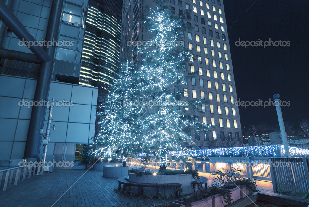 Modern city street illumination by Christmas time — Stock Photo #15363209
